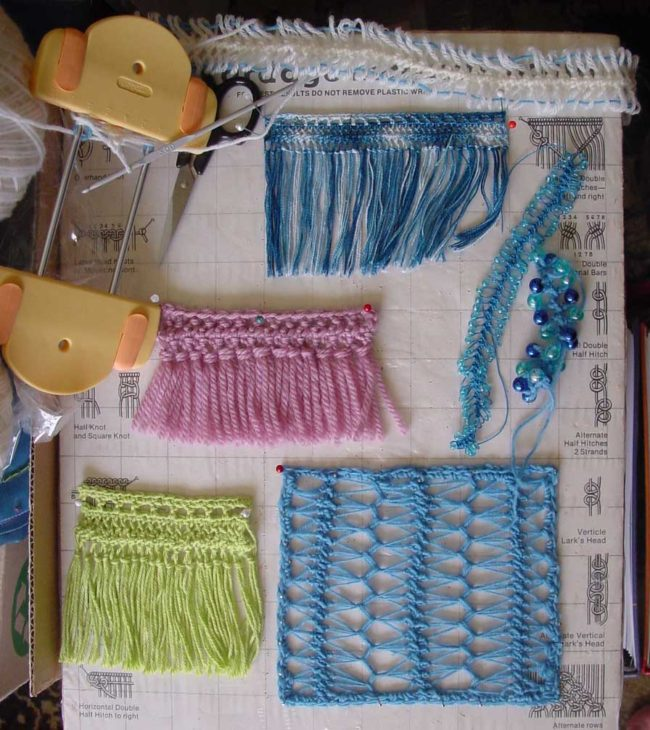 Hairpin lace crochet samples