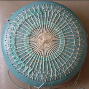 Teneriffe lace in progress on a koppo cushion