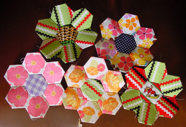 English pieced hexagons