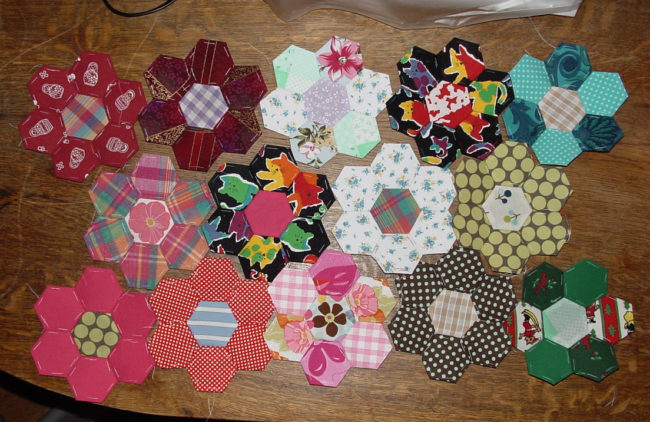English pieced hexagons 5