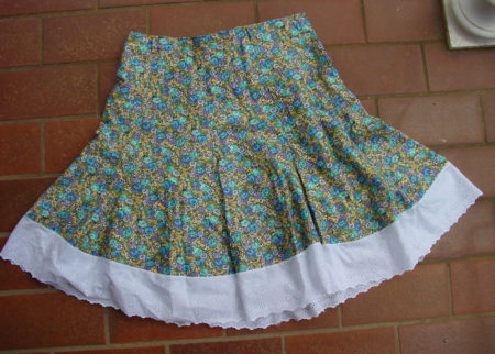 Floral skirt laid out flat