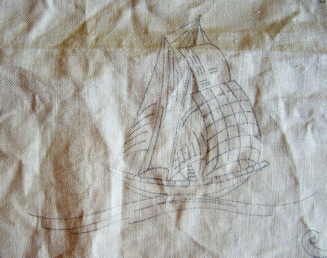 Vintage unworked embroidery with ships
