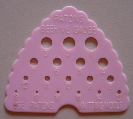 Patons Beehive knitting gauge