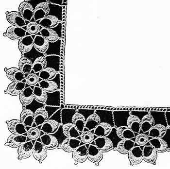 crochet edging with flower motifs