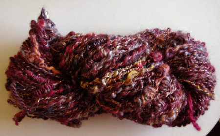 Handspun yarn with granny stacks, coils and twirly plying