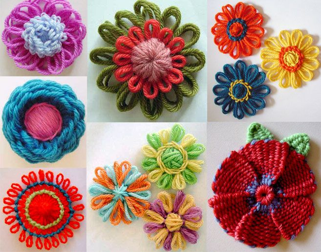 A collection of loomed flowers