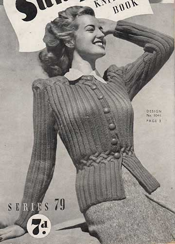 Free Knitting Pattern for an early 1940's jacket with cabled waist shaping.