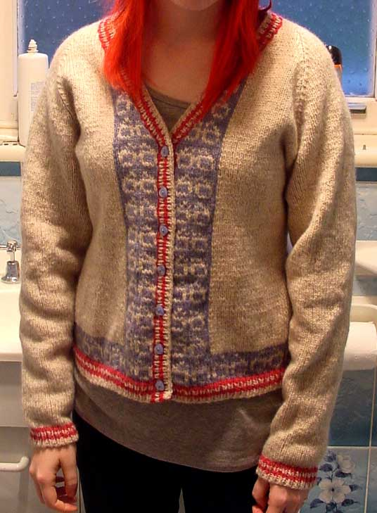 Knit cardigan with stranded nerd glasses design