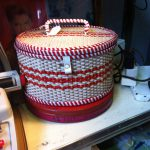 Red and white vintage sewing box
