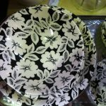 Black and wite floral plate