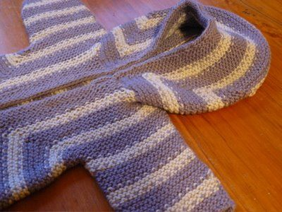 Baby surprise jacket with a hood based on the mitred baby bonnet in the Opinionated Knitter