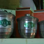 Orange and green vintage kitchen canisters