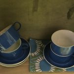 Blue and white teacups. I love the white stripe on the cups combined with the floral tea towel