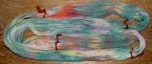 Drip dyed yarn