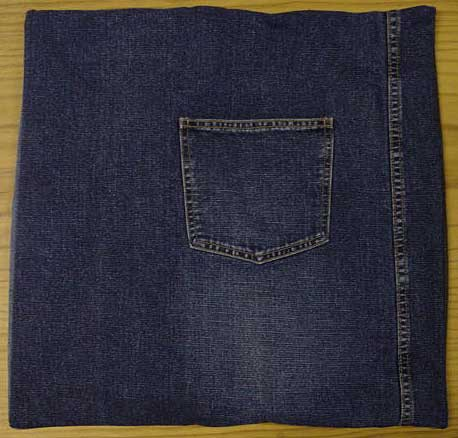 Denim cushion cover with pocket