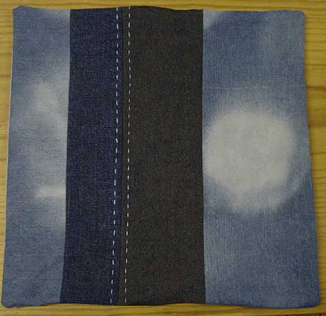Denim cushion cover with stripe