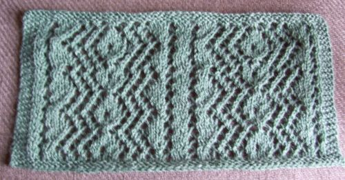 Sample for beautiful diamond pattern from Cornelia Mee's Exercises in Knitting