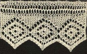 Three repeats of Berna's torchon lace from Home Work, published 1891