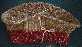 A hat being knit in the round.