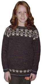 Handspun jumper with cat's paw motif