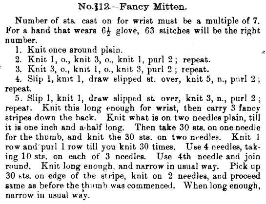 Original fancy mitten pattern 1891