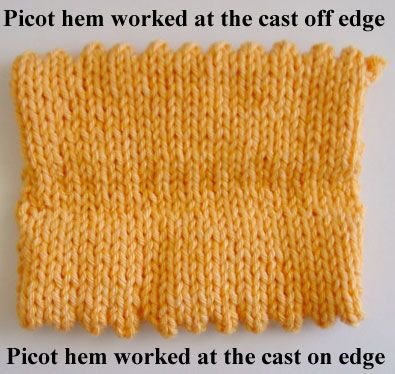A sample of the picot hem worked on the cast on edge and cast off edge
