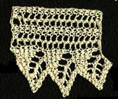 Three repeats of Polly's oak leaf lace from Home Work, published 1891