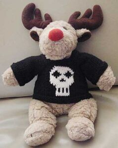 Rudolph the red nose reindeer with a skull jumper/sweater