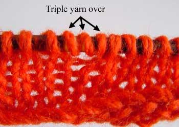 Working multiple yarn overs. Diagram 2