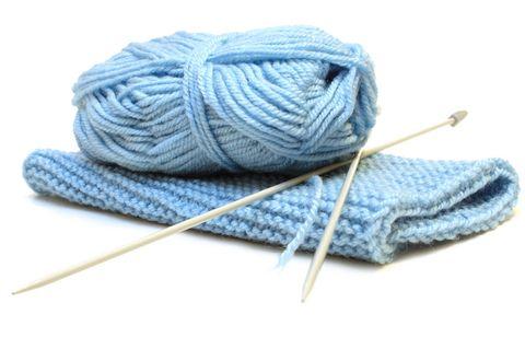 Blue folded knitting