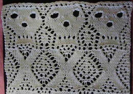 Skull and crossbones lace knitting stitch