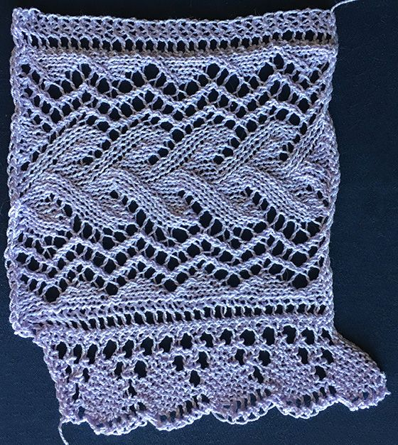 Knitted lace edging with vine lace heading and shell edge