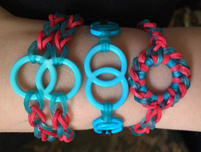 Rainbow loom bracelets with added bits and pieces