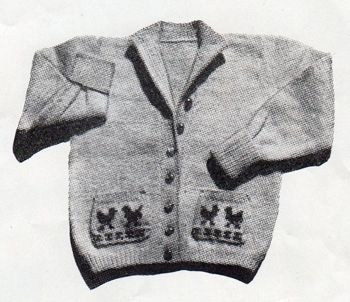 Toddler's cardigan with chickens on the pockets - free knitting pattern