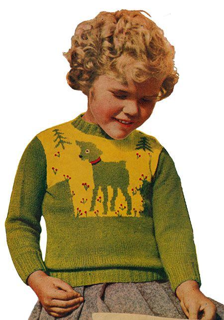 Toddler jumper/sweater with intarsia lamb - free knitting pattern