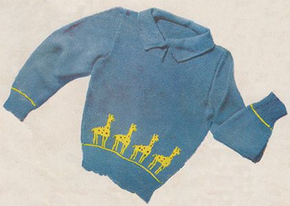 Giraffes All. Toddler's jumper with free knitting pattern.