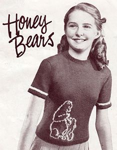 Hiney bears jumper or sweater for girls. Free knitting pattern