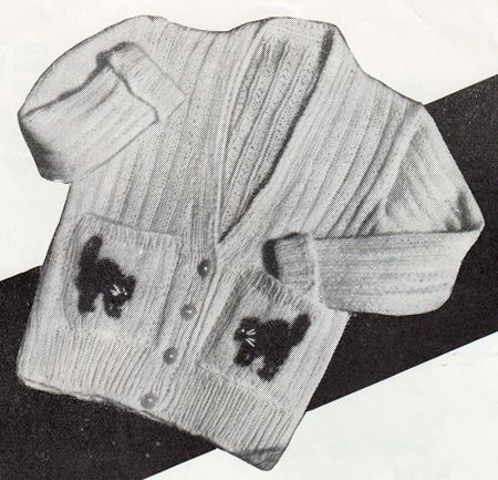 Free knitting pattern for a toddler's cardigan with cats on the pockets