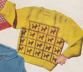 Tail waggers, baby jumper/sweater with stranded colour work dogs across the front. Free knitting pattern.