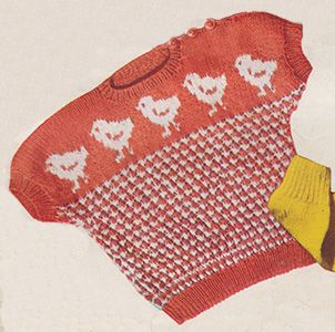 Toddler's short sleeved top with baby chickens in stranded knitting across the front. Free knitting pattern.