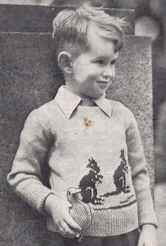 Child's jumper with kangaroos. Free knitting pattern