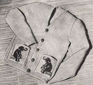Jumbo jacket toddler cardigan with elephants on the pockets. Free knitting pattern.