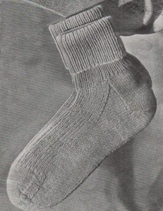 Lady's Sockettes from Patons Knitting Book No. 248 - free knitting pattern
