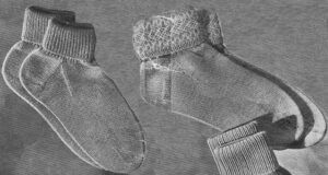 Lady's ankle socks with ribbed or patterned tops. Free knitting pattern available.