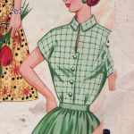 Green Dress with Button Band Cutout