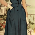Blue Dress with Military Styling