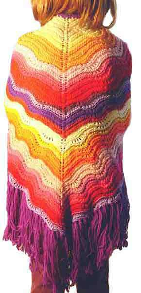 Feather and fan knit shawl