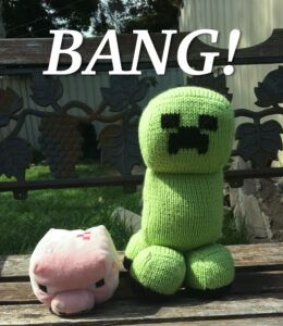 Hand knit Minecraft creeper
