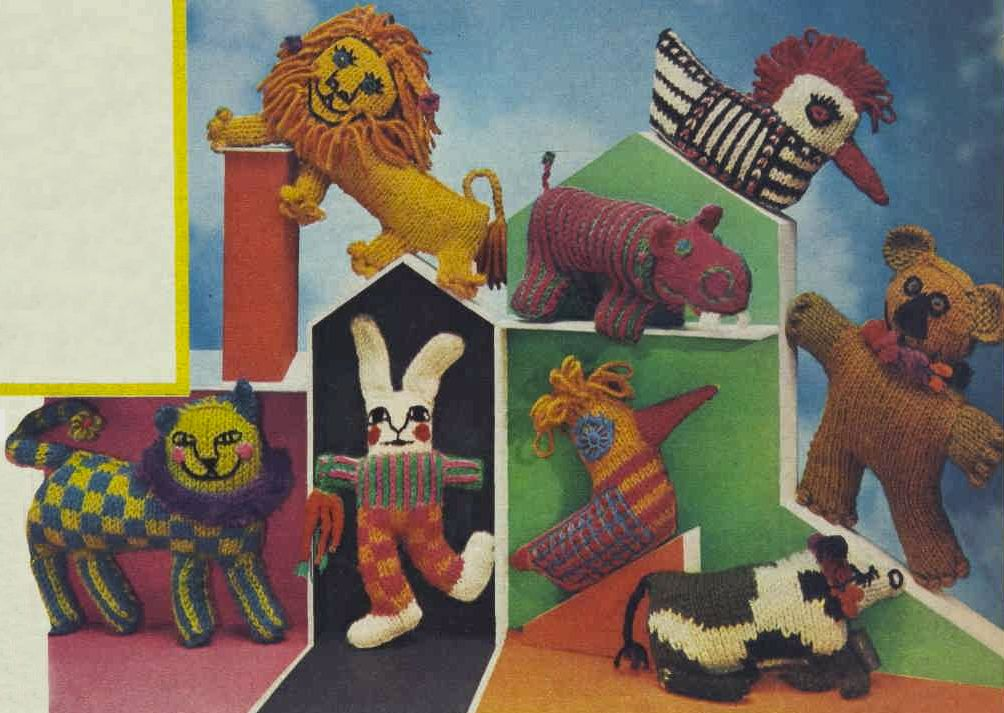 Groovy knitted toys from the October 2nd Australian Women's Weekly, 1968