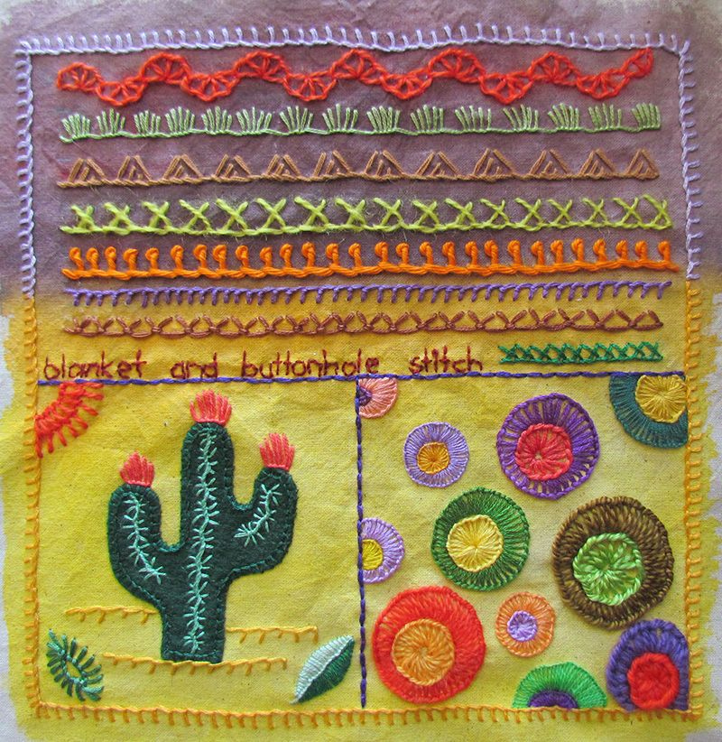 Embroidered blanket and buttonhole stitch sampler